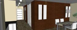 Wykończenie jednej ściany korytarza i jednej ściany salonu fornirowaną płytą o tym samym wzorze unifikuje wnętrze i sprawia, że jest przytulne.