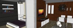 Umieszczenie w tym samym miejscu szklanych drzwi harmonijkowych pomoże w powiększeniu przestrzeni mieszkania kiedy będzie to możliwe.