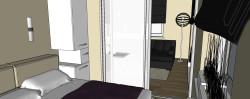 Zabudowa za łóżkiem ma poprawić komfort w sypialni. Jeśli będzie otwierana od góry można wykorzystać ją np. jako skrzynię na pościel.