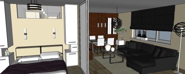 Ściana nad sypialnianym łóżkiem jest przeszklona  w górnej części. Dzięki temu w kuchni, a dalej w holu będzie więcej naturalnego światła.