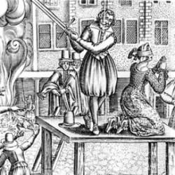 Egzekucja Leonory Galigai, czarownicy ściętej w Paryżu na początku XVII-wieku.