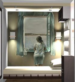 Koncepcja trzecia. Ścianę za łóżkiem ozdabia wymowna fototapeta.