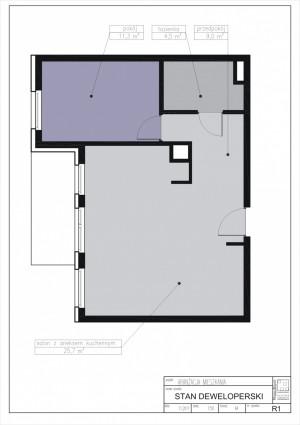 Rozkład mieszkania zaproponowany przez dewelopera.