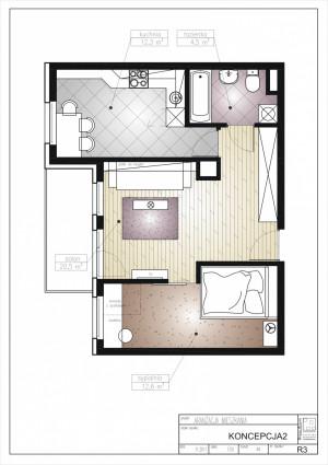 Koncepcja druga. Kuchnia została przeniesiona do małego pokoju a sypialnia wydzielona z z salonu.