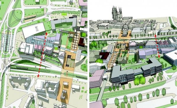 Projektanci utworzyli oś widokową na linii ul. Rogaczewskiego - ul. Bogusławskiego. Zaznaczono ją czerwoną linią.