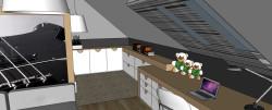 Niska przestrzeń pod skosami została zabudowana na wymiar - na pewno wystarczy tam miejsca na ukrycie dziecięcych skarbów.