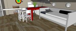 Biurko i łóżko stanowią jeden spójny moduł. Blat biurka może być jednocześnie nocnym stolikiem.