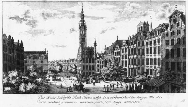 Ratusz Głównego Miasta uwieczniony na grafice Matthäusa Deischa z 1765 r.