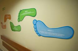 Wywieszone na ścianie kroki, którymi podążać mają świeżo upieczone, wiążą się z realizacją programu nauki laktacji.