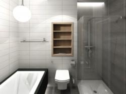 Wariant drugi. Łazienka urządzona w większym pomieszczeniu mieści i wannę i prysznic.