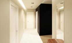 Przearanżowanie hallu pozwoliło wygospodarować w nim dodatkowe pomieszczenia.