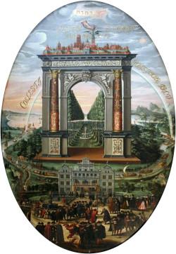 Sufit Sali Czerwonej w Ratuszu Głównego Miasta ozdobiony jest obrazem Izaaka van den Blocka, pt. Apoteoza Gdańska. Wśród postaci przedstawiających mieszkańców miasta, można dostrzec żydowskich kupców.