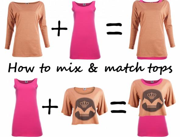 Koszulki można dowolnie ze sobą zestawiać, za każdym razem uzyskując zupełnie inny efekt.