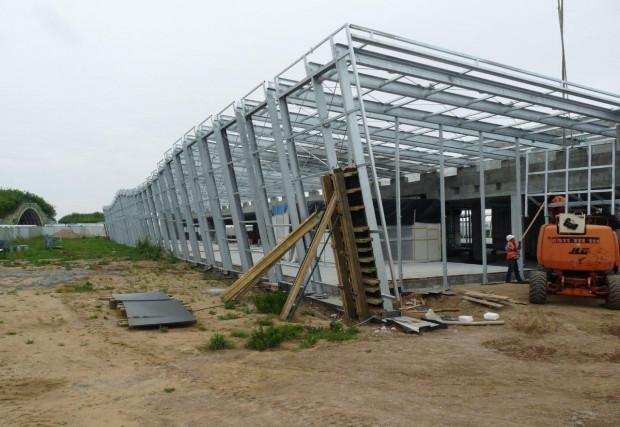Budowa terminalu General Aviation cały czas trwa. Zdjęcie zostało wykonane podczas ostatniego weekendu.
