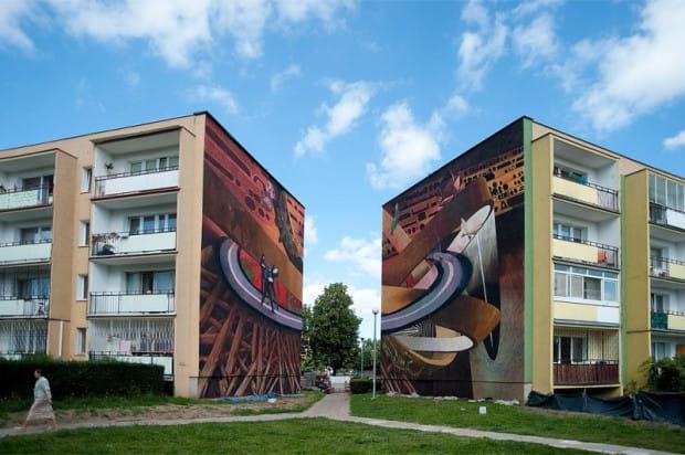 Mural przy ul. Bajana (na ścianach budynków 9A i 11C) to pierwszy na Zaspie dyptyk. Przygotowali go malarze Gdańskiej Szkoły Muralu.