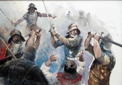 """Szacuje się, że utonęło i zaginęło około 1050 knechtów i marynarzy. Inni (około 550) dostali się jako jeńcy do niewoli. Uciekło i ocalało około 260 Krzyżaków. Na zdjęciu """"Walczący rycerze - szkic do 'Bitwy na Zatoce Świeżej 1463' """", Henryk Baranowski."""