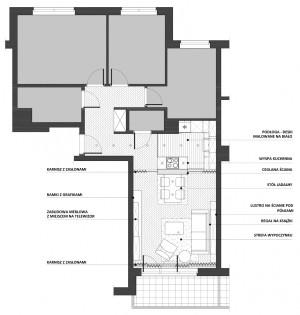 Koncepcja druga. Ceglana, częściowa ścianka między kuchnią i pokojem.