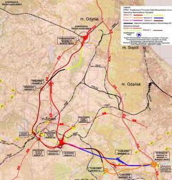 Planowany przebieg Obwodnicy Metropolitalnej między Chwaszczynem a Straszynem.