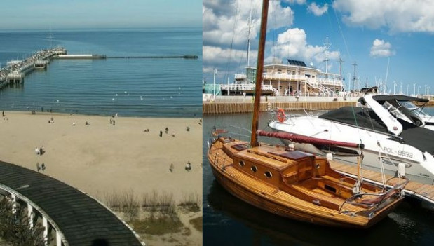 Molo w Sopocie przed i po wybudowaniu mariny żeglarskiej.