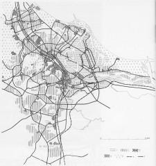 Plan ogólny zespołu portowo – miejskiego GD (Plan Szermera) z 1962 r. 1 -  tereny portów, przemysłu i składów, 2 – dzielnice i osiedla mieszkaniowe, 3 – ośrodki śródmiejskie, dzielnicowe, osiedlowe, 4 – inne tereny użyteczności publicznej, 5 – lasy i parki leśne, 6 – koleje, 7 – drogi.