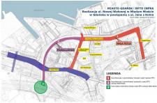 Przebieg pierwszego etapu budowy ul. Nowej Wałowej. Obecnie zakłada się jednoczesną realizację wszystkich części.