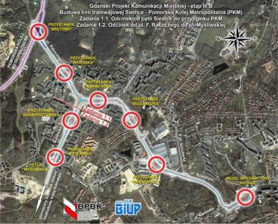 Lokalizacja przystanków i podział na etapy.